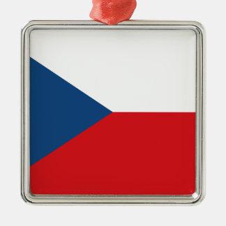 Niedrige Kosten! Tschechische Republik-Flagge Quadratisches Silberfarbenes Ornament
