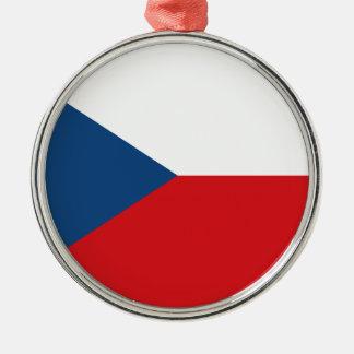 Niedrige Kosten! Tschechische Republik-Flagge Rundes Silberfarbenes Ornament