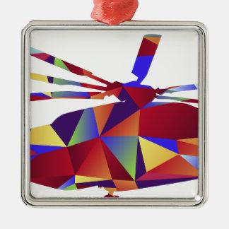 Niedrige Polyhubschrauber-Ikone Quadratisches Silberfarbenes Ornament