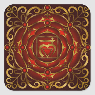Niedriger Chakra Mandala-Druck durch Rachel C. Quadrat-Aufkleber
