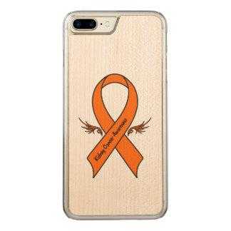 Nieren-Krebs-Bewusstseins-Band mit Flügeln Carved iPhone 8 Plus/7 Plus Hülle