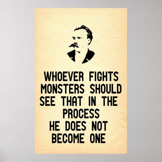Nietzsche Zitat Wer Auch Immer Kampft Monster Poster