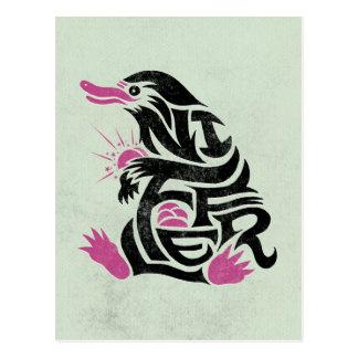 Niffler Typografie-Grafik Postkarten