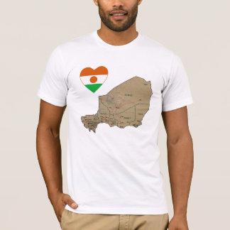Niger-Flaggen-Herz und Karten-T - Shirt