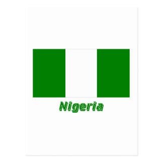 Nigeria-Flagge mit Namen Postkarte