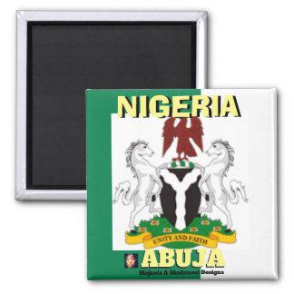 Nigeria-Flagge, Nigeriaarms21, ABUJA, NIGERIA Quadratischer Magnet