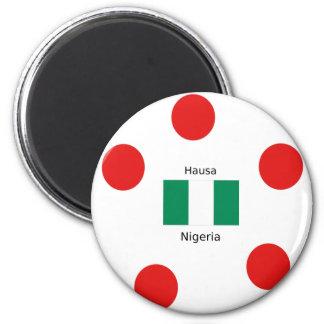 Nigeria Flaggen-und Hausa-Sprachentwurf Runder Magnet 5,1 Cm