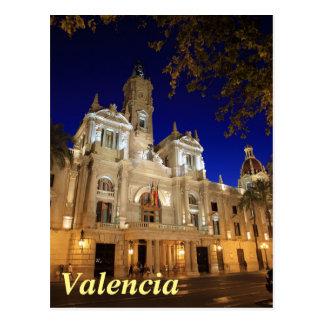 Nightview der Piazzas Ayuntamiento, Valencia, Postkarte