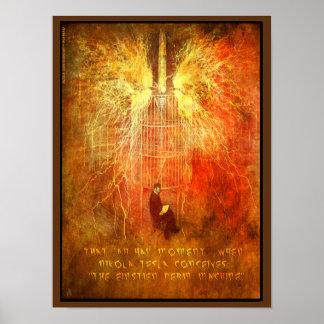 """Nikola Tesla hat einen """"AH ha-"""" Moment Poster"""