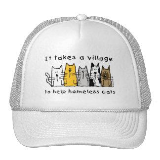 Nimmt einem Dorf-Hilfsobdachlosen Katzen Kult Mützen