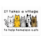 Nimmt einem Dorf-Hilfsobdachlosen Katzen Postkarte
