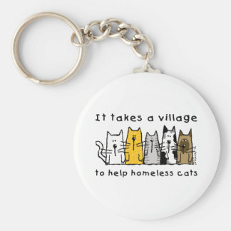 Nimmt einem Dorf-Hilfsobdachlosen Katzen Schlüsselanhänger