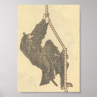 Ninja, das ein Seil circa 1800s klettert Plakat
