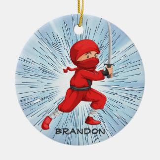 Ninja Jungen-Entwurfs-Verzierung Rundes Keramik Ornament