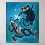 Ninja Katze gegen Roboter Plakate