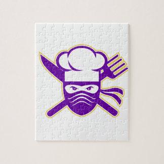 Ninja Koch gekreuzte Messer-Gabel-Ikone Puzzle