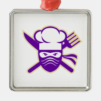 Ninja Koch gekreuzte Messer-Gabel-Ikone Quadratisches Silberfarbenes Ornament