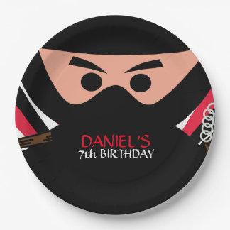 Ninja Kriegers-Geburtstag 9 Zoll-Pappteller Pappteller