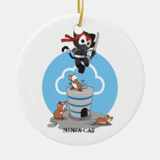 Ninja Miezekatze mit Mäusen Keramik Ornament