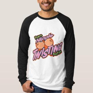 Nippel, der Aktion verdreht T-Shirt
