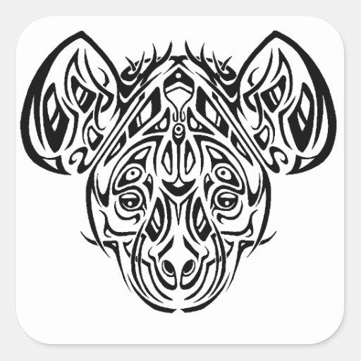 Nires Hyänen-Stammes- Entwurf Quadrataufkleber