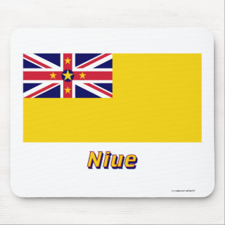 Niue Flagge mit Namen Mauspad