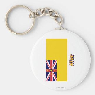Niue Flagge mit Namen Standard Runder Schlüsselanhänger
