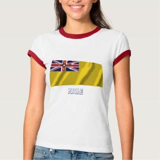 Niue wellenartig bewegende Flagge mit Namen T-Shirt