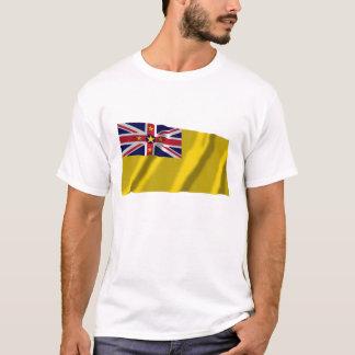 Niue wellenartig bewegende Flagge T-Shirt