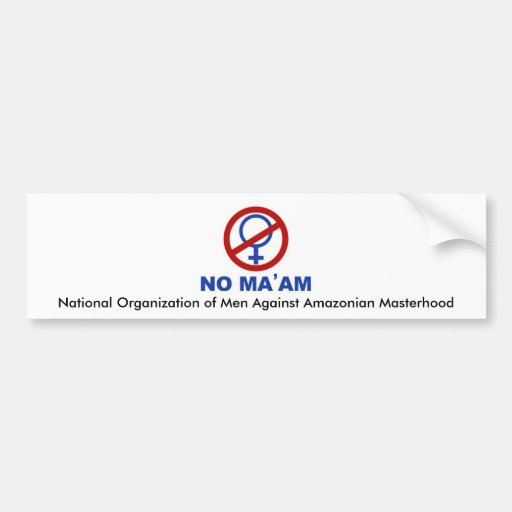 No_maam, nationale Organisation der Männer gegen A Autoaufkleber