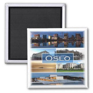 NO * Norwegen - Oslo - Mosaik Quadratischer Magnet