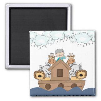 Noah und die Arche voll der Tiere Quadratischer Magnet