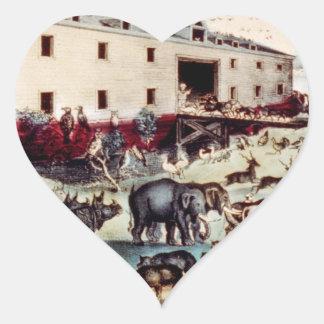Noahs Arche Herz-Aufkleber