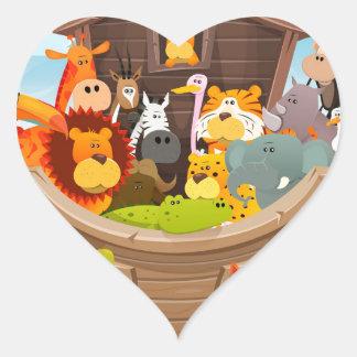 Noahs Arche mit Dschungel-Tieren Herz-Aufkleber