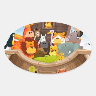 Noahs Arche mit Dschungel-Tieren Ovaler Aufkleber