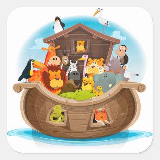 Noahs Arche mit Dschungel-Tieren Quadratischer Aufkleber