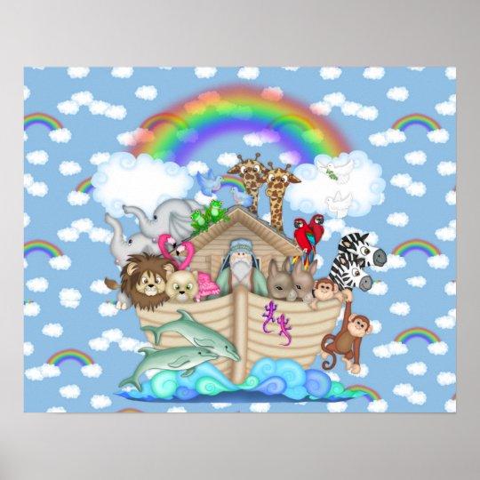Noahs arche regenbogen kinderzimmer dekoration poster zazzle for Regenbogen dekoration
