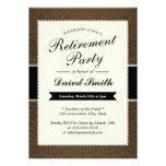 Noble Brown-Damast-Ruhestands-Party Einladungen