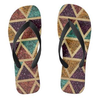 Noble Glitter-Dreieck-Goldfolie Flip Flops