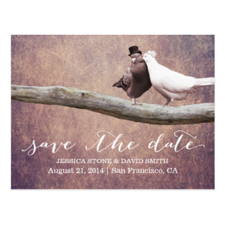 Noble Grunge-Hochzeits-Vögel Save the Date Postkarte