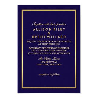 Classy Wedding Invitation Gold Foil - Navy Blue