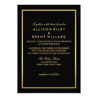 Classy Wedding Invitation Gold Foil - Black