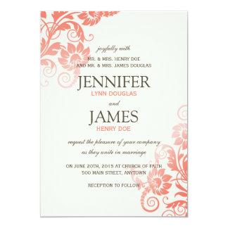 Noble Ombre korallenrote Hochzeits-Einladungen 12,7 X 17,8 Cm Einladungskarte