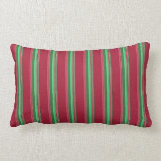 Noble rote und grüne Streifen Lendenkissen