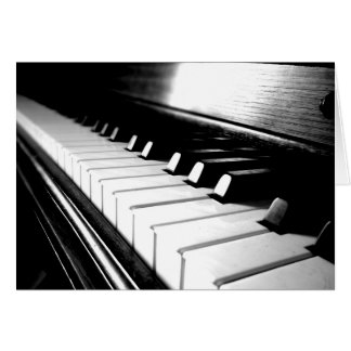 Noble schwarze u. weiße Klavier-Fotografie Grußkarte
