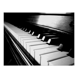Noble schwarze u. weiße Klavier-Fotografie Plakatdrucke