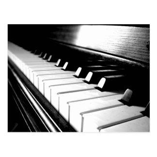 Noble schwarze u. weiße Klavier-Fotografie Postkarte
