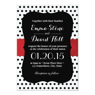 Noble schwarze u. weiße Tupfen-Hochzeit 12,7 X 17,8 Cm Einladungskarte