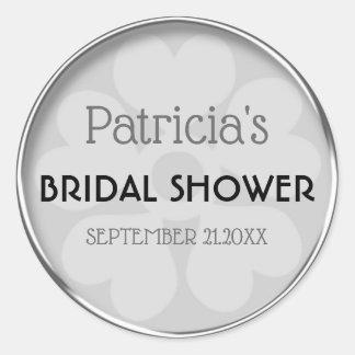 Noble silberne Brautparty-Bevorzugung Runder Aufkleber