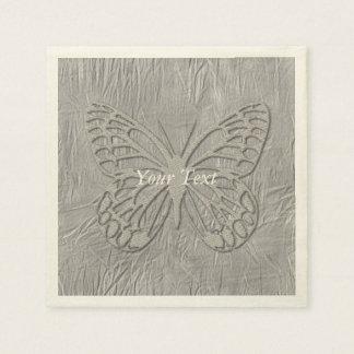 Noble silberne Schmetterlings-Seide Serviette